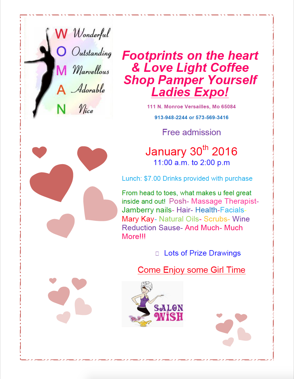 Footprints on the Heart & Love Light Coffee Shop Pamper Yourself Ladies Expo